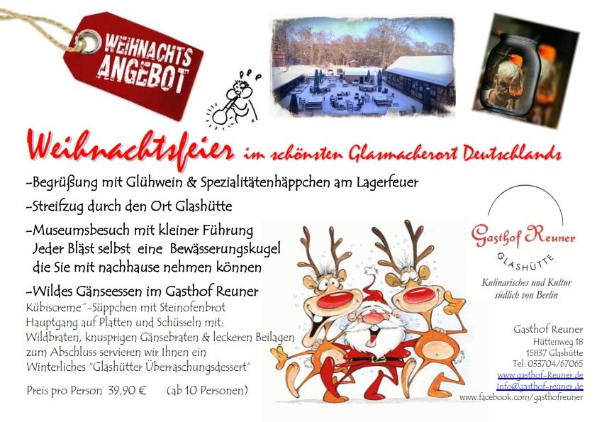 Angebot Weihnachtsfeier.Weihnachtsfeier In Brandenburg Im Umland Von Berlin Idee